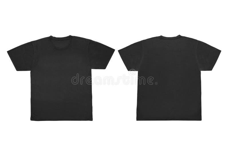 Isolerad mellanrumsblåttframdel och tillbaka T-tröjamall för åtlöje-U royaltyfria bilder