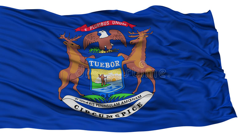 Isolerad Michigan flagga, USA tillstånd vektor illustrationer