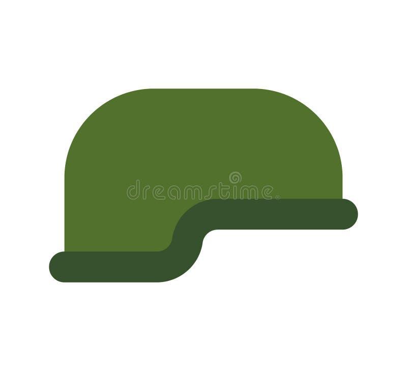 Isolerad militär hjälm Tjäna som soldat det skyddande locket arméhatt stock illustrationer