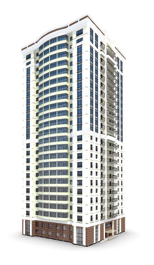 Isolerad modern byggnad royaltyfri illustrationer