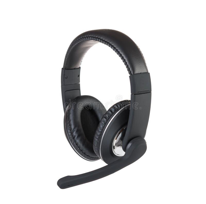 Isolerad modern hörlurar med mikrofon royaltyfri fotografi