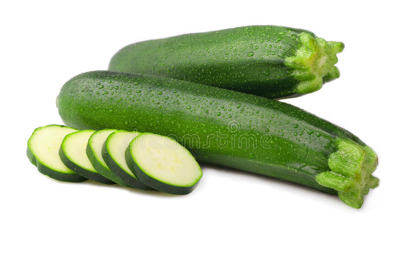 Isolerad mogen zucchini arkivfoto