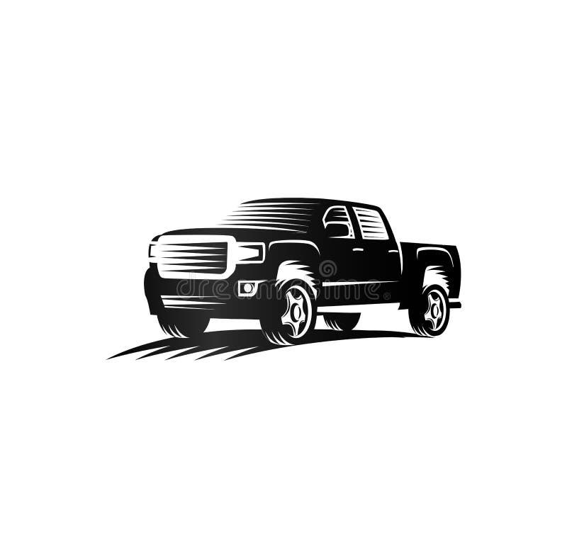 Isolerad monokrom logo för gravyrstilpickup, billogotyp, svart vektor för automatiskt medel för färg vektor illustrationer