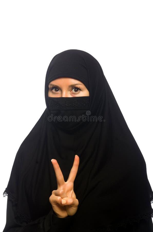 Isolerad muslimsk kvinna royaltyfri bild
