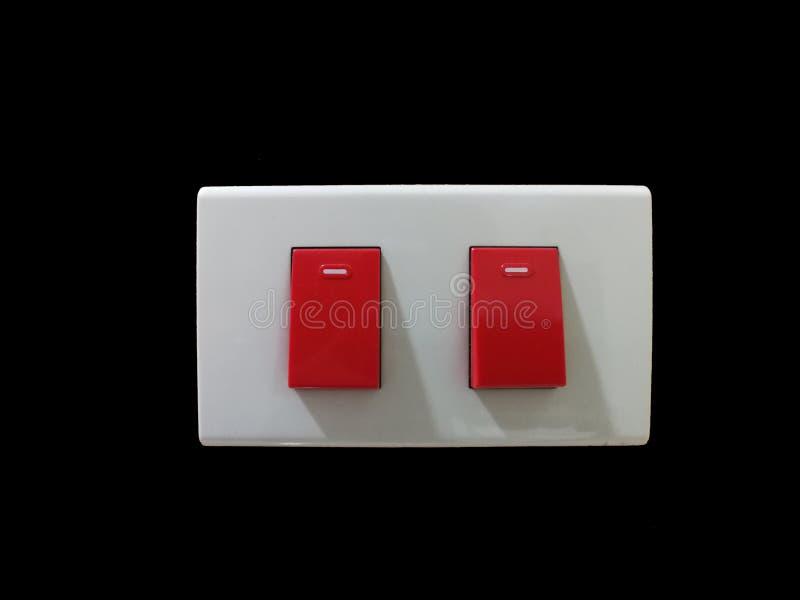 Isolerad nöd- ljus strömbrytare för Retro handlag, rött - sjukhuskvalitet royaltyfria foton
