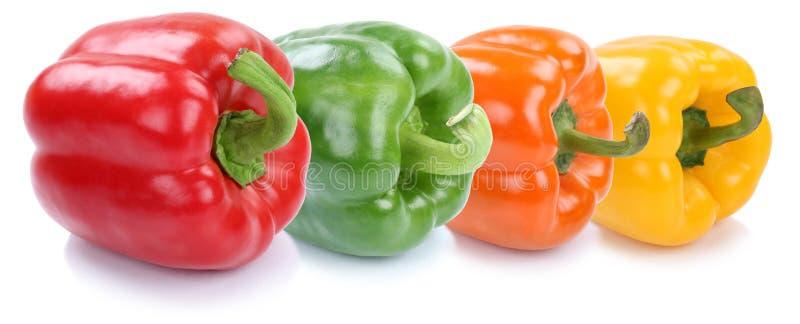 Isolerad ny grönsak för spansk pepparsamlingspaprika i rad royaltyfria foton