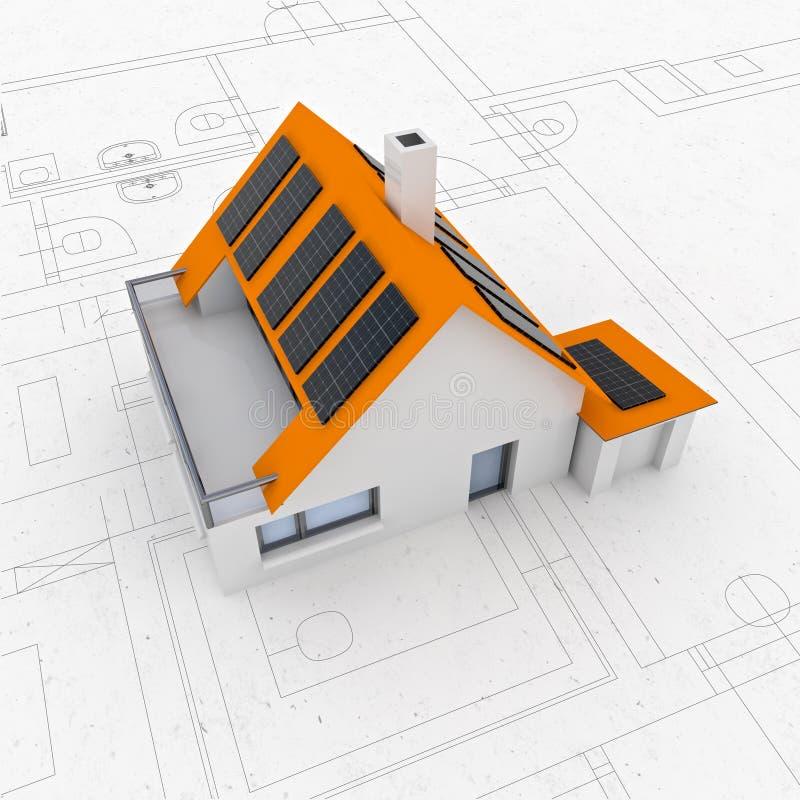 Isolerad ny modern hållbar husplanorientering vektor illustrationer