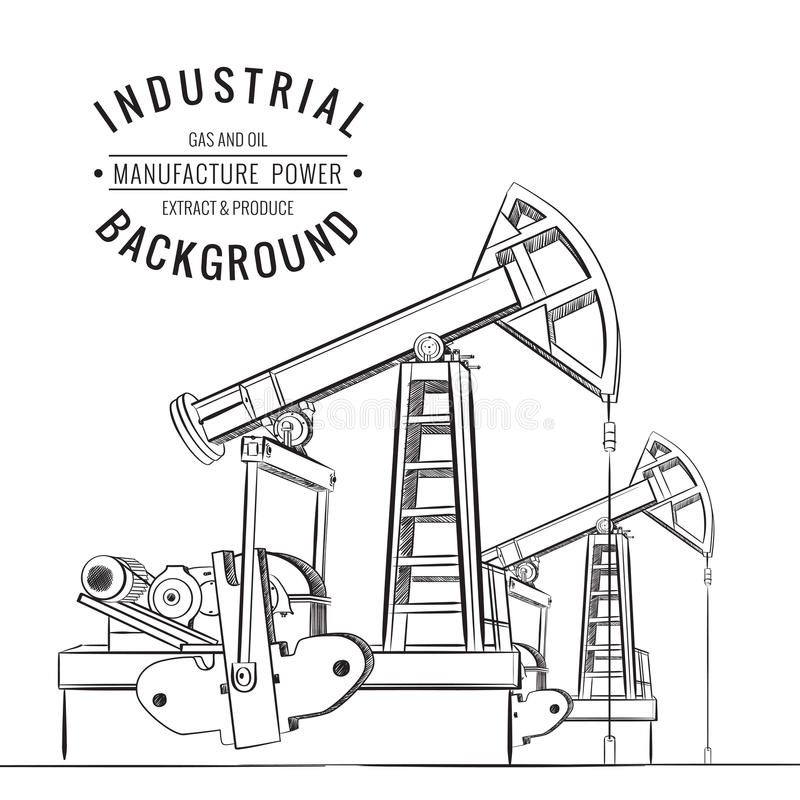 Isolerad olje- pump vektor illustrationer
