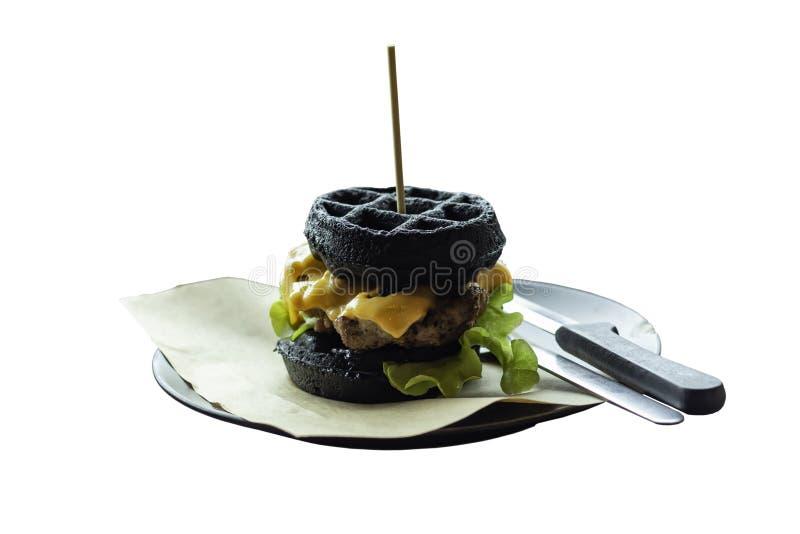 Isolerad oon för hamburgaresvartgriskött en vit bakgrund med clippi royaltyfri fotografi