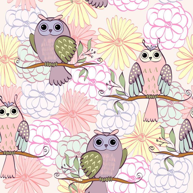 isolerad owlvektor för tecknad film illustration vektor illustrationer