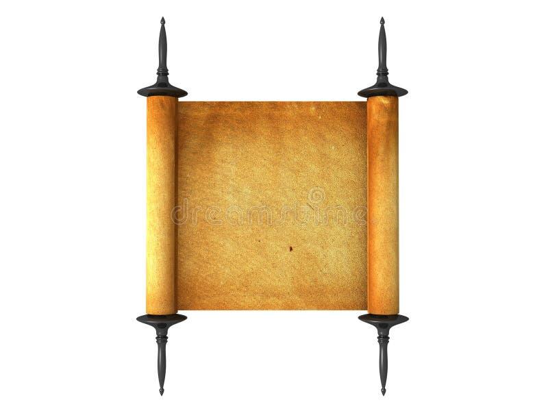 isolerad parchmentscrollwhite royaltyfri fotografi