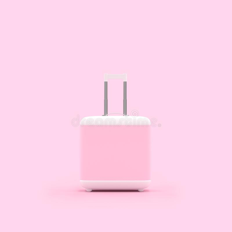Isolerad pastellfärgad rosa färg för loppresväska stock illustrationer