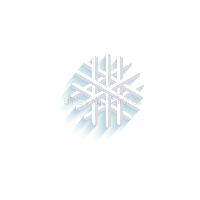 Isolerad pictogram för symbol för vektorsnöflingalägenhet stock illustrationer