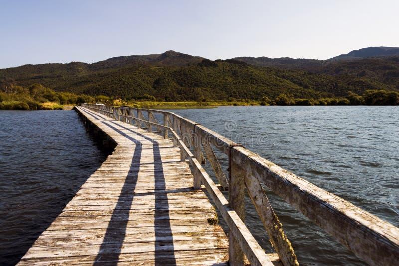 Isolerad pir på sjön Taupo, Nya Zeeland arkivbilder