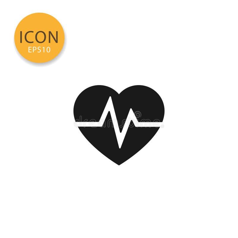 Isolerad plan stil för hjärtslag symbol stock illustrationer