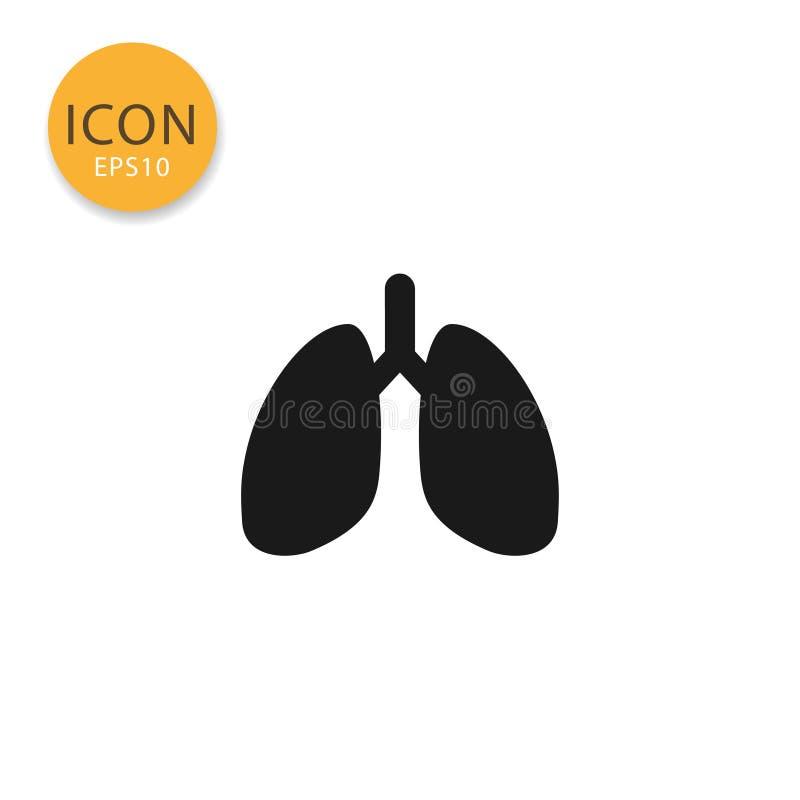 Isolerad plan stil för lungor symbol stock illustrationer