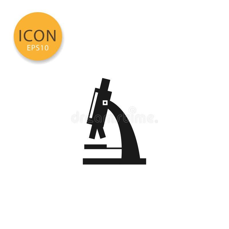 Isolerad plan stil för mikroskop symbol royaltyfri illustrationer