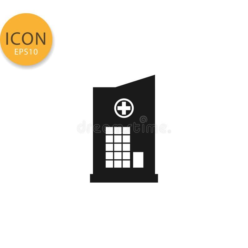 Isolerad plan stil för sjukhus symbol stock illustrationer
