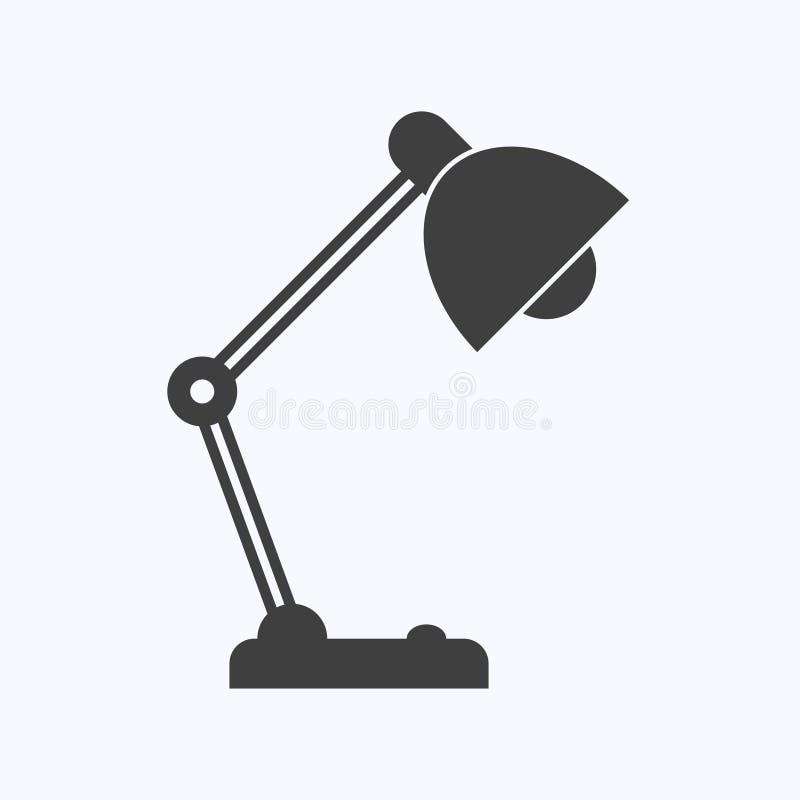 Isolerad plan stil för tabellkontorslampa vektor illustrationer