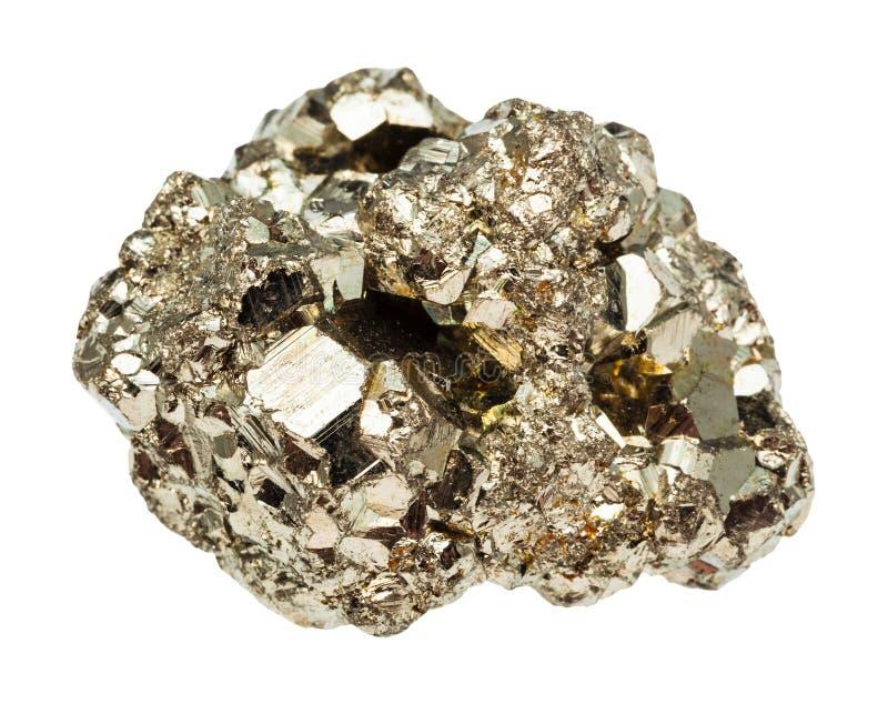 Isolerad rå sten för järnpyrit arkivfoton