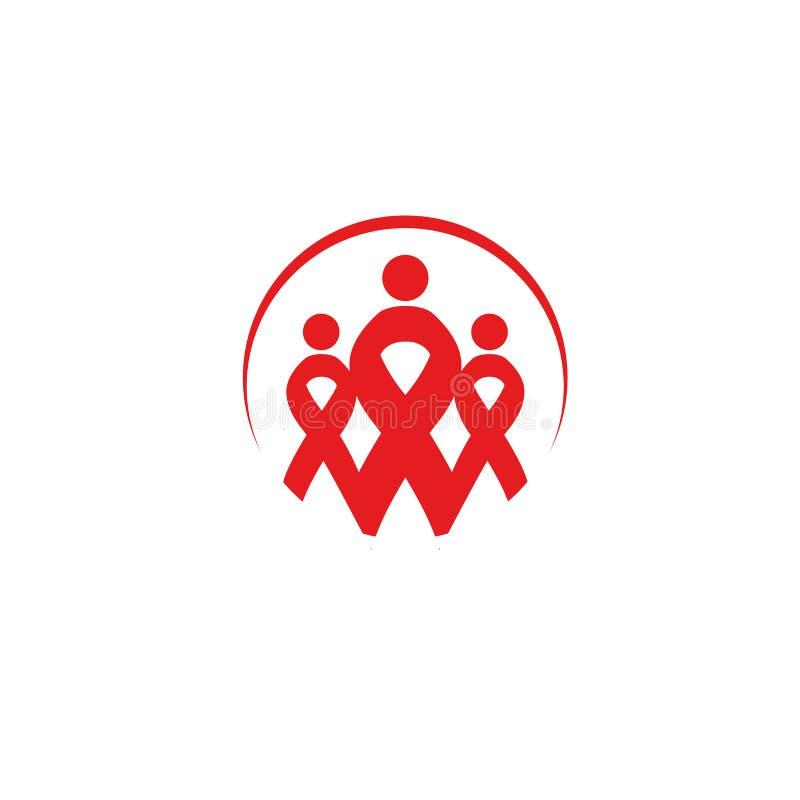 Isolerad röd bandsjukdommedvetenhet Mänsklig konturlogo för rund form Världen bistår dagbegrepp Stoppa virussymbolen royaltyfri illustrationer