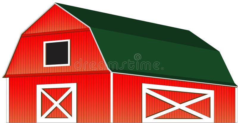 Isolerad röd illustration för lantgårdladugårdvektor vektor illustrationer