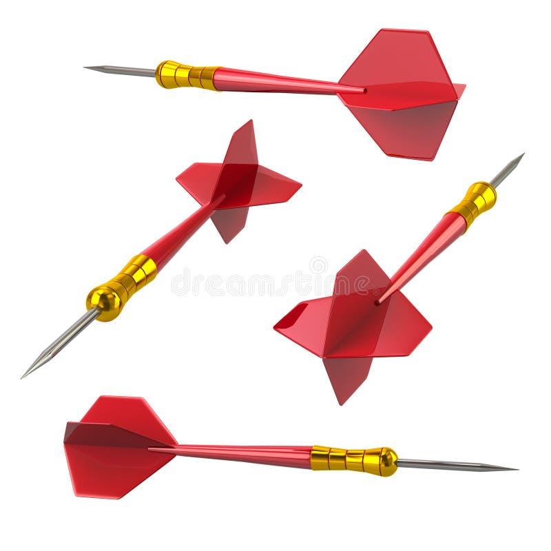 Isolerad röd illustration för pilpilar 3d royaltyfri illustrationer