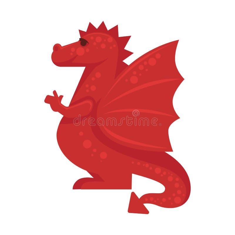 Isolerad röd illustration för vektor för reptil för mytiskt monster för drake jätte- stock illustrationer