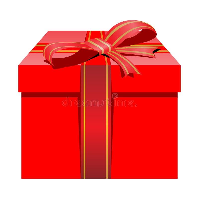 Isolerad röd packegåvaask med det röda bandet för jul stock illustrationer