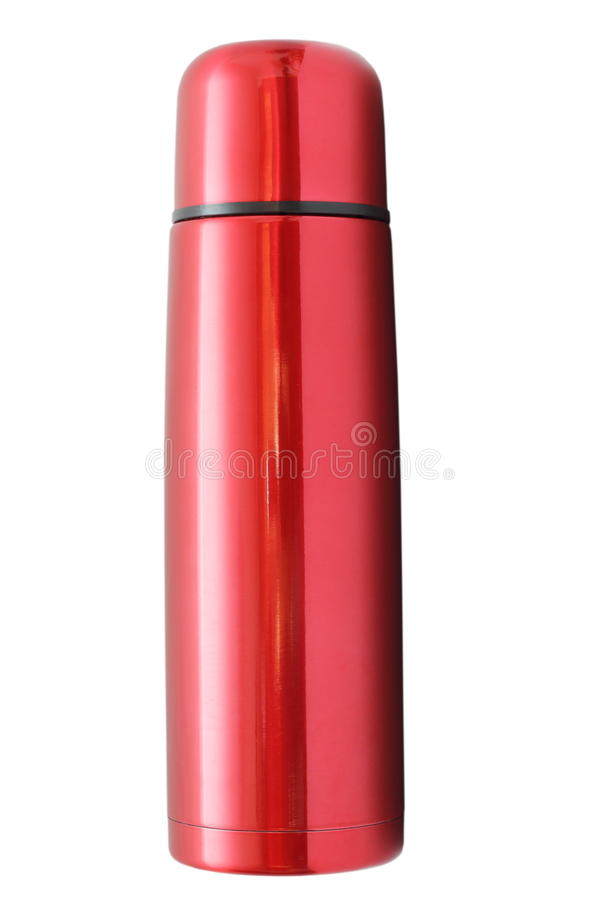 Isolerad röd termos arkivfoton