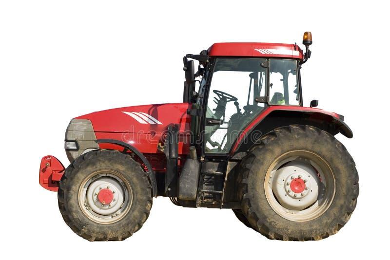 isolerad röd traktor royaltyfria foton