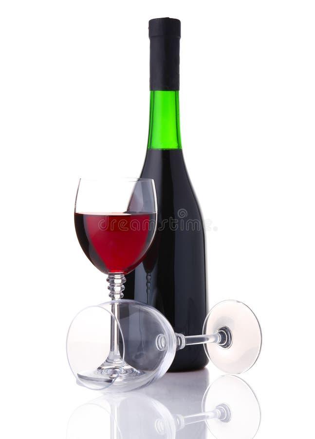 isolerad röd vit wine för flaskexponeringsglas royaltyfri fotografi
