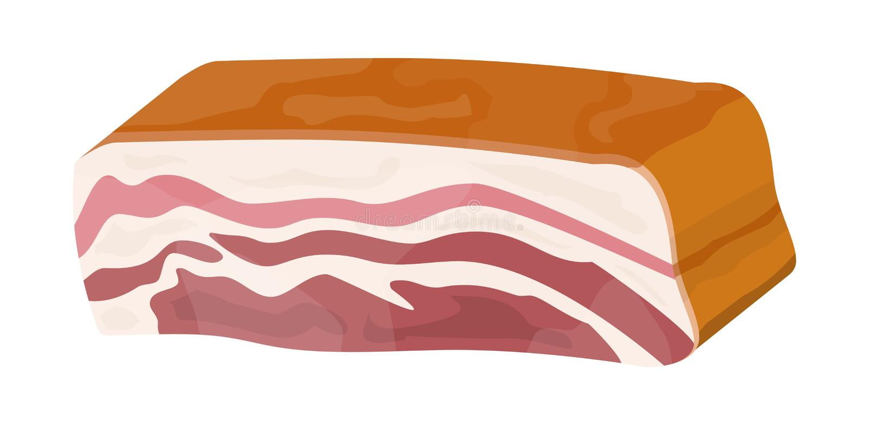 Isolerad rökt skinka Stycke av läcker grisköttbacon stock illustrationer