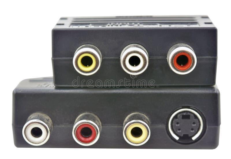 Isolerad RCA SCART adapter royaltyfria foton