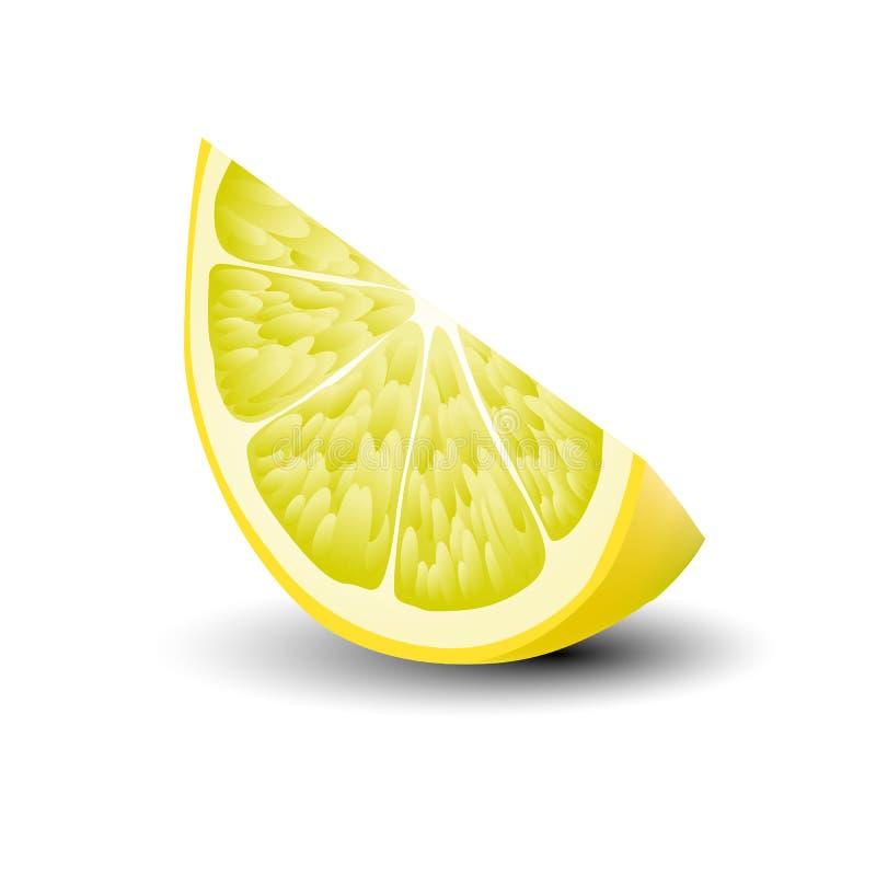 Isolerad realistisk kulör skiva av den saftiga gula färgcitronen med skugga på vit bakgrund royaltyfri illustrationer