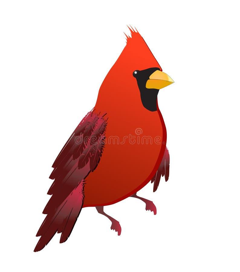 isolerad red för fågel kardinal royaltyfri illustrationer
