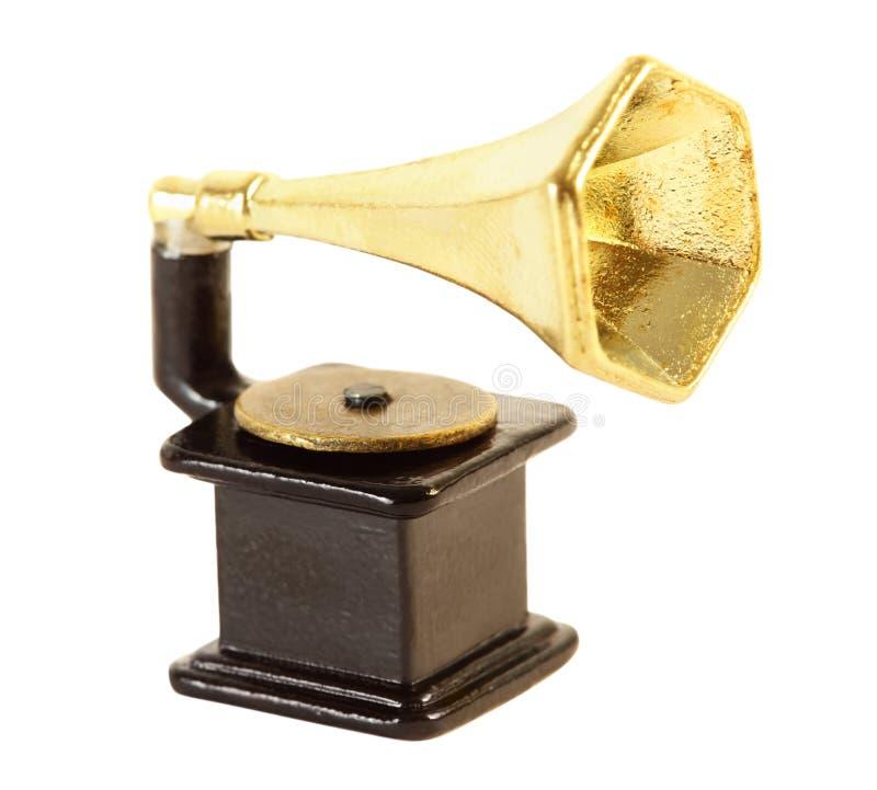 isolerad Retro-utformad grammofon royaltyfria bilder