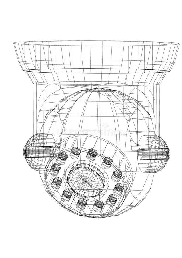 Isolerad ritning för arkitekt för säkerhetskamera - royaltyfri illustrationer