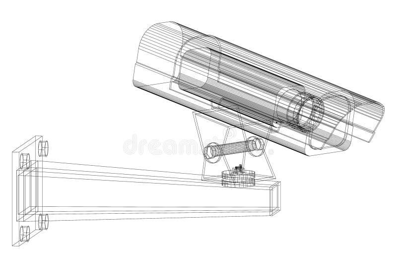 Isolerad ritning för arkitekt för säkerhetskamera - vektor illustrationer