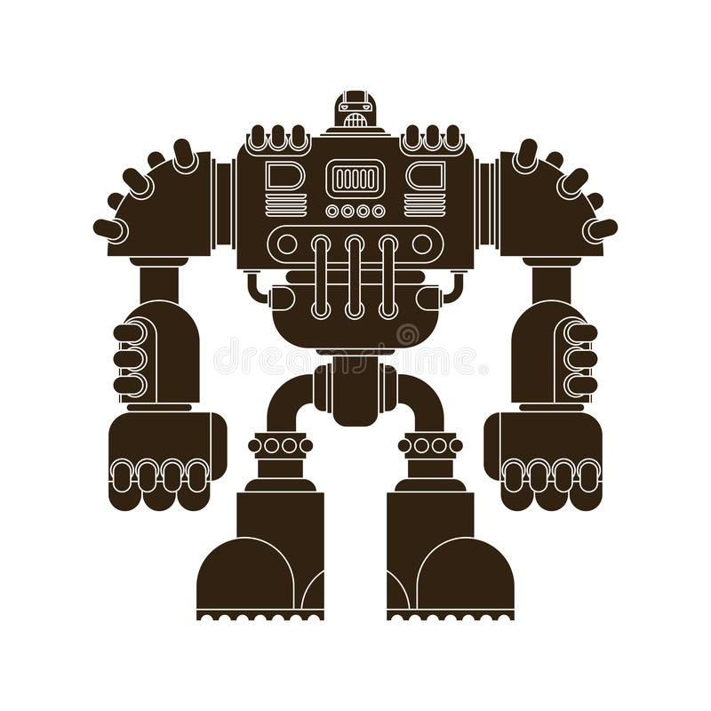 Isolerad robot Framtid för stridCyborgkrigare Vektor Illustratio royaltyfri illustrationer