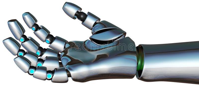 Isolerad robotCyborgAndroid hand stock illustrationer