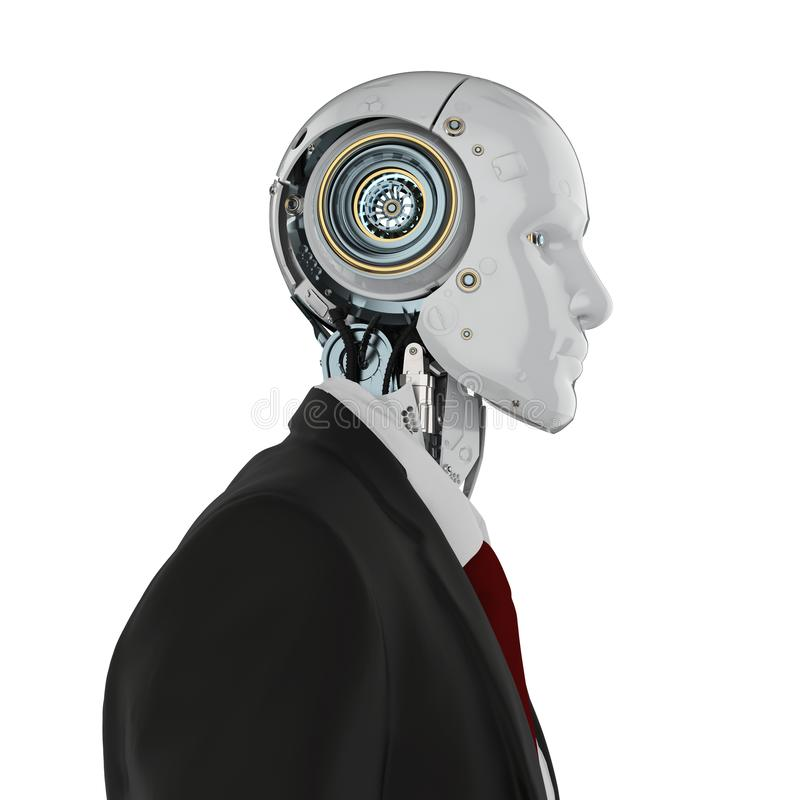 Isolerad Robotic aff?rsman royaltyfri illustrationer