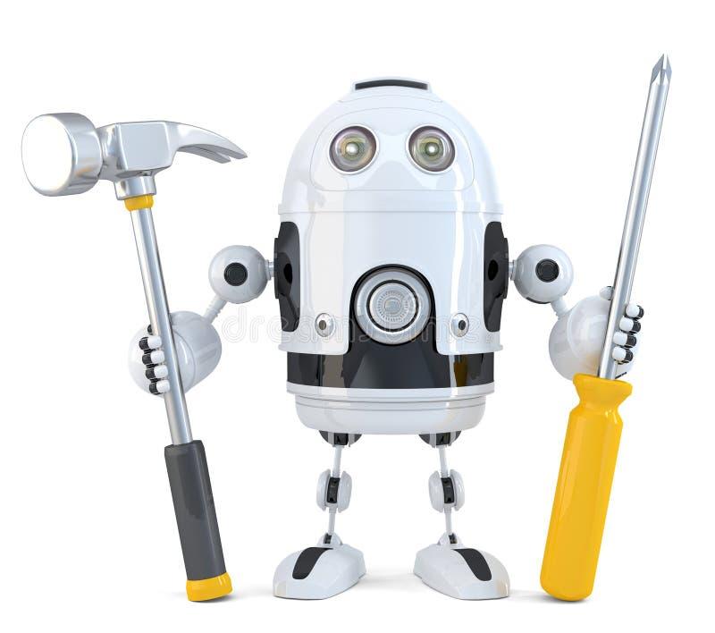 isolerad robotwhitearbetare begrepp isolerad teknologiwhite isolerat Innehåller den snabba banan vektor illustrationer