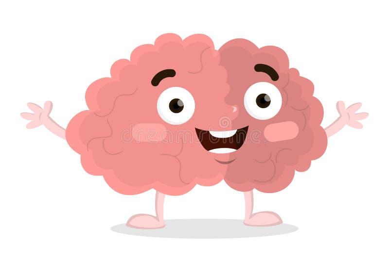 Isolerad rolig hjärna stock illustrationer