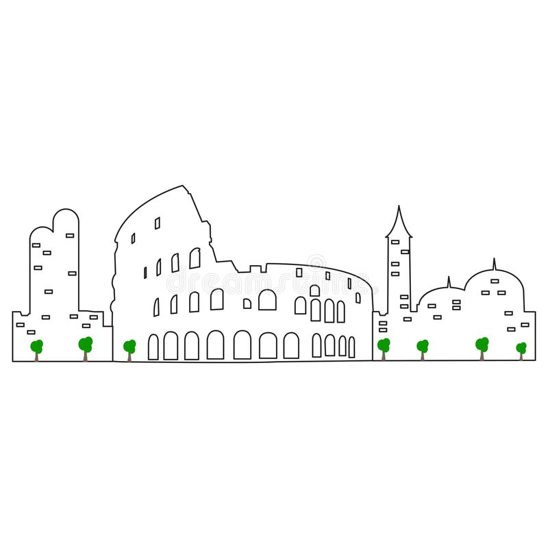 Isolerad Rome cityscape royaltyfri illustrationer