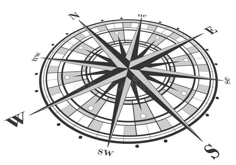 isolerad rose vektorwhite för kompass illustration vektor illustrationer