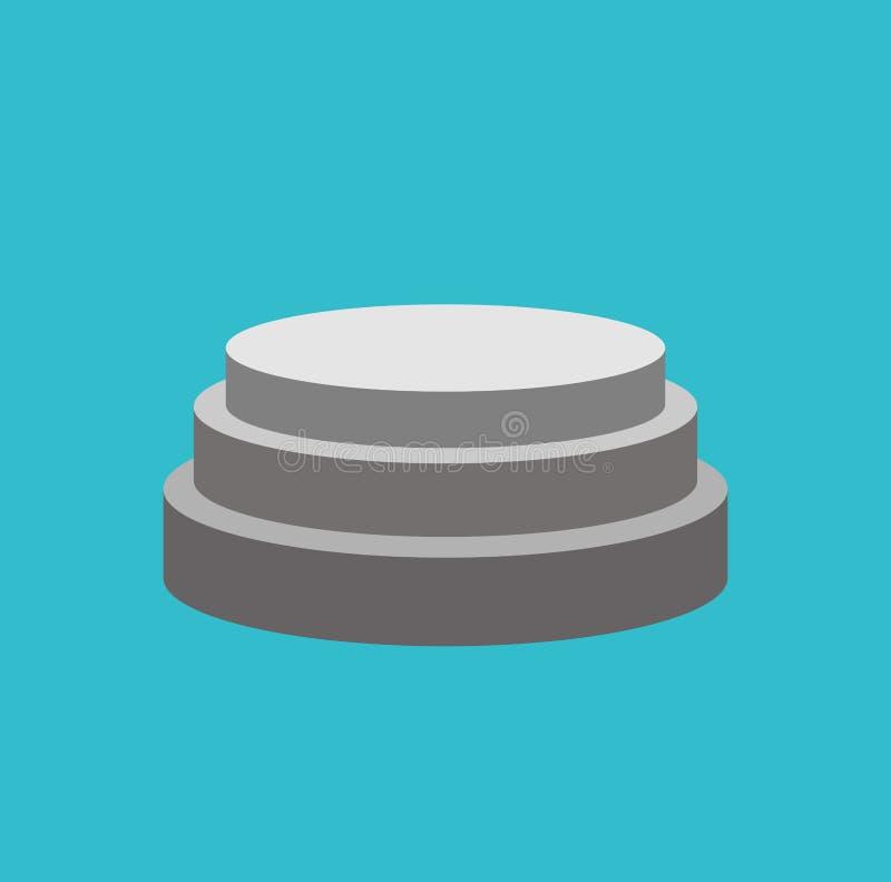 Isolerad rund sockel Ställning för utmärkelser Plats på blått vektor illustrationer