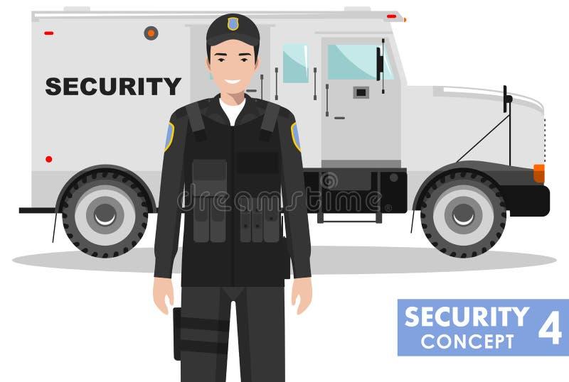 isolerad säkerhetswhite för bakgrund begrepp Detaljerad illustration av pansarbilen och ordningsvakten på vit bakgrund i plan sti vektor illustrationer