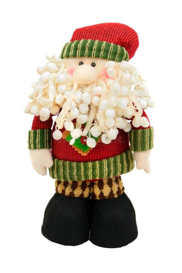 Isolerad Santa Klaus leksak på en vit bakgrund arkivbilder