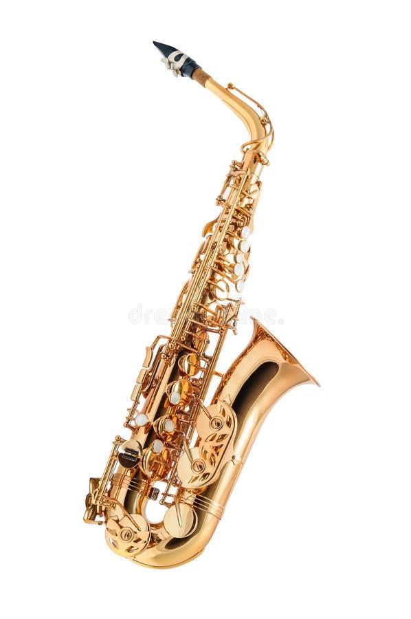 isolerad saxofon arkivbild